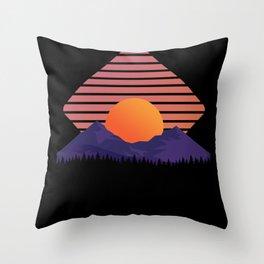 Sunset Landscape Dark Throw Pillow