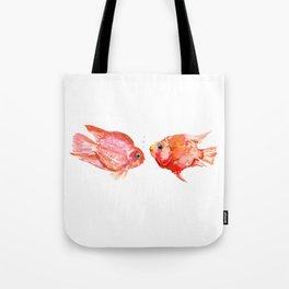 Two Love Fish, Fish art, Love, aquarium design, Parrot Cichlids Tote Bag
