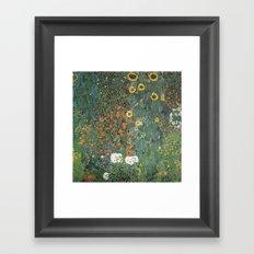 Gustav Klimt - Farm Garden with Sunflowers Framed Art Print