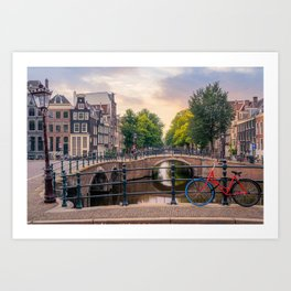 A bike at the Amsterdam canal Art Print