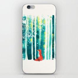 Fox in quiet forest iPhone Skin