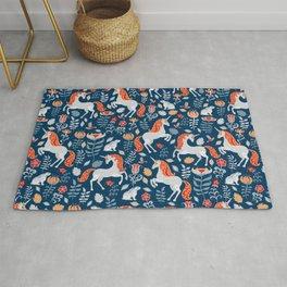 Unicorns, rabbits, birds, flowers. Decorative seamless pattern. Folk art. Rug