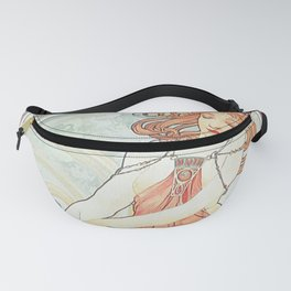 Painting by Alphonse Mucha 1898 // Retro Woman with a Flower Geometric Circle Abstract Fanny Pack