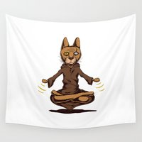 jedi Wall Tapestries featuring Jedi cat by Toms Tomsons