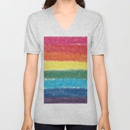 LGBTQ+ Pride Flag Crosshatch Design Unisex V-Neck