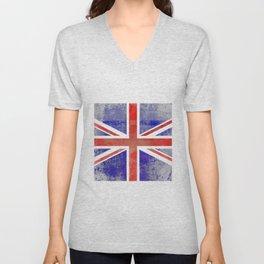 Grunge Union Jack Flag Unisex V-Neck