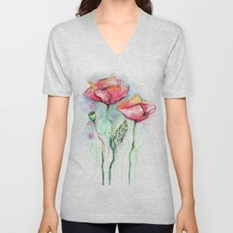 Poppies Watercolor Sketch Red Flowers Unisex V-Neck