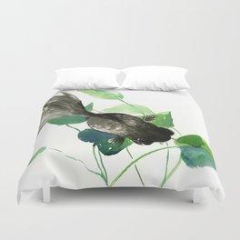 Black Moor Aquarium Fish, Elegant black and green design aquatic black fish Duvet Cover