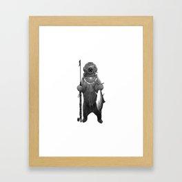 Harpoon Fishing Bear Framed Art Print