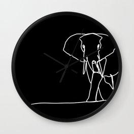 Solitary Elephant Line Art - Black Wall Clock