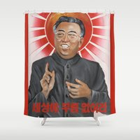 religion Shower Curtains featuring Religion in North Korea by kaliwallace