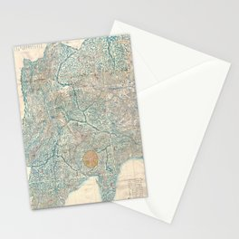 Vintage Map of Tokyo and Mt. Fuji Japan (1843) Stationery Cards