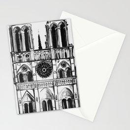 Notre Dame de Paris, cathedral, illustration Stationery Cards