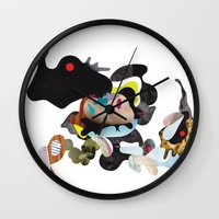 rhino Wall Clocks featuring Rhino by Maria Taari