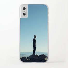 Alone in the blue summit Clear iPhone Case