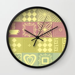 Retro .Bright checkered pattern home and garden . Wall Clock