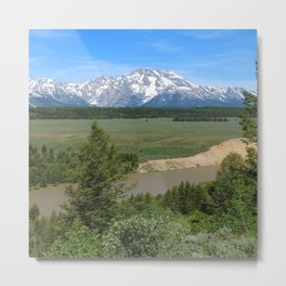Snake River And Grand Teton Range Metal Print