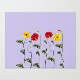 A Garden of Red and Yellow Poppies Canvas Print