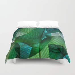 Palm leaf jungle Bali banana palm frond greens Duvet Cover