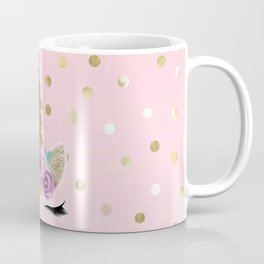 Floral Trendy Modern Unicorn Horn Gold Confetti Coffee Mug
