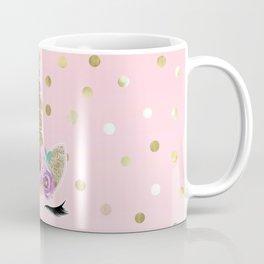 Floral Trendy Modern Unicorn Horn Gold Confetti Coffee Mug