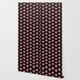 Patterned Happy Uterus in Black Wallpaper