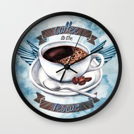 Coffee To The Rescue Wall Clock