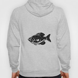 Crappie Fish Woodcut Hoody