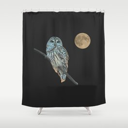 Owl, See the Moon (Barred Owl) Shower Curtain