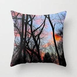 Sunset Through the Tangled Trees Throw Pillow