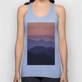 Purple sunset at the mountains. Last night Unisex Tank Top