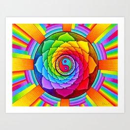 Healing Lotus Rainbow Yin Yang Mandala Art Print