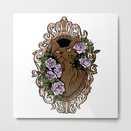 Brown Tabby Sphynx Cat in Gold Baroque Frame with Lilac Roses - Floral Tattoo Hairless Pet Art Metal Print