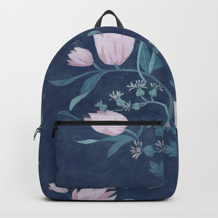 Pink tulips pattern on a dark background Backpack