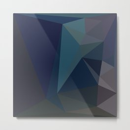 Dark Blue Geometric - Abstract Art by Fluid Nature Metal Print