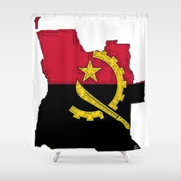Angola Map with Angolan Flag Shower Curtain