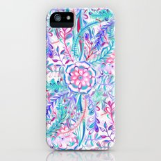 Boho Flower Burst in Pink and Teal iPhone SE Slim Case