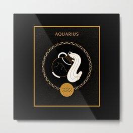 Aquarius Symbol | Zodiac Sign Art Metal Print