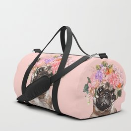 Pug with Flower Crown Duffle Bag