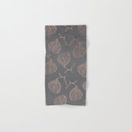 Modern floral hand drawn rose gold on grey cement graphite concrete Hand & Bath Towel