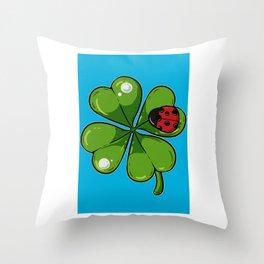 Ladybug Shamrock Lucky Charm Cloverleaf Hipster  Throw Pillow