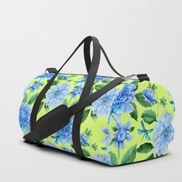 Modern blue lime punch watercolor dahlia floral pattern Duffle Bag