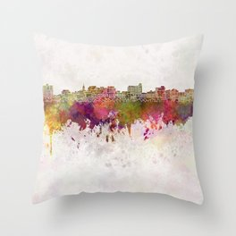 South Portland skyline in watercolor background Throw Pillow