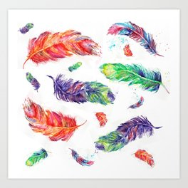 Feathers birds abstract watercolor prints Art Print