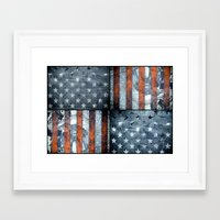 american flag Framed Art Prints featuring American flag by Bekim ART