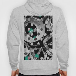 Abstract black white green watercolor brushstrokes Hoody