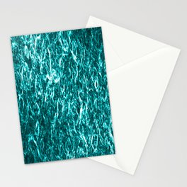 Vertical metal texture of bright highlights on light blue waves. Stationery Cards