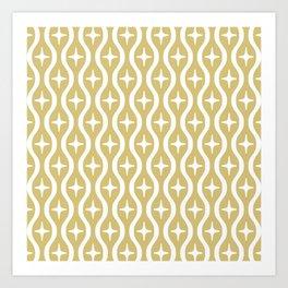 Mid century Modern Bulbous Star Pattern Gold Art Print