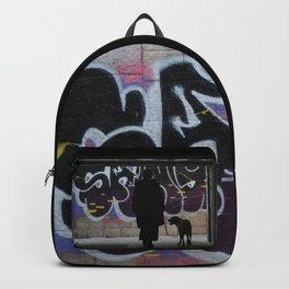 Woman and dog, graffiti Backpack