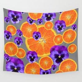 ORANGE SLICES & PURPLE PANSIES MODERN ART Wall Tapestry